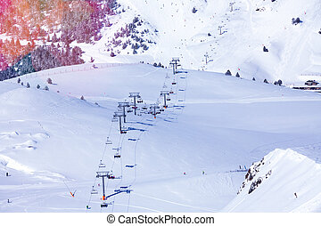View of Andorra ski lift - Ski lift and pistes, view from...