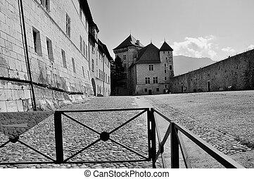 Annecy castle in b&w