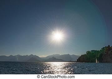 View of Antalya seacoast, Mediterranean sea at sunset,...
