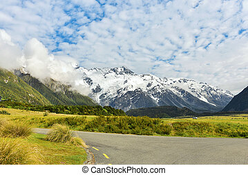 View of Aoraki Mount Cook on a sunny day
