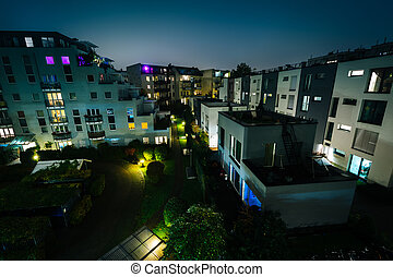 View of apartment buildings and a courtyard in Berlin, Germany.