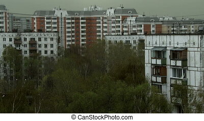 View of apartment buildings on windy day