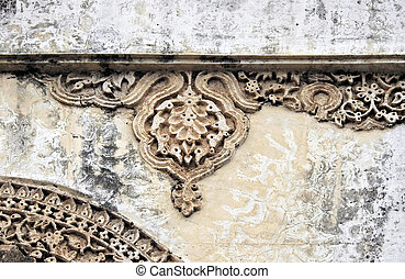 Architectural details of 400 year old Golconda Fort,Hyderabad,India constructed by qutub shahi kings