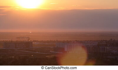 View of Astana modern city at sunset timelapse.