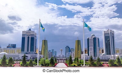 View of Astana modern city with baiterek and towers timelapse.
