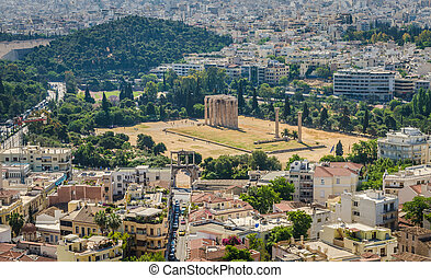 View of Athens and ancient ruins, Greece.