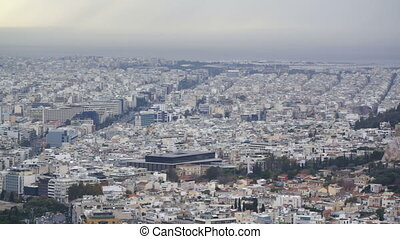 view of Athens and the Acropolis from the Mount Lycabettus,...