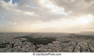 view of Athens and the Acropolis from the Mount Lycabettus...