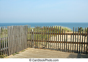View of Atlantic Ocean Through Fence