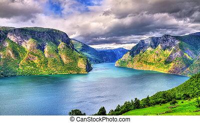 View of Aurlandsfjord from Stegastein viewpoint - Norway -...