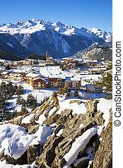 Aussois village in winter