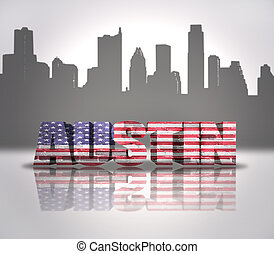 View of Austin City - Word Austin with National Flag of USA...