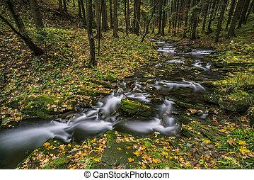 View of autumn waterfalls