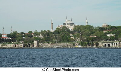 View of Aya Sophia and Blue Mosque from Bosphorus