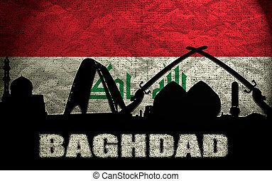 View of Baghdad on the Grunge Iraqi Flag