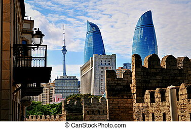View of Baku downtown, Azerbaijan - Flame towers of old town...