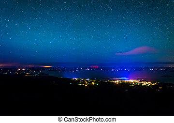 View of Bar Harbor at night from Caddilac Mountain, Acadia...