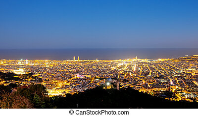 View of barcelona at night