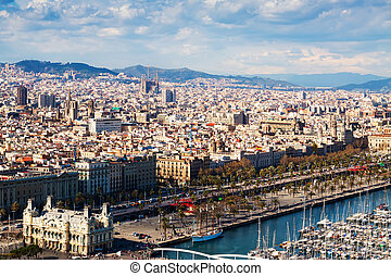 view of Barcelona city from port side