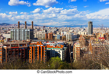 view of Barcelona from Montjuic in sunny day