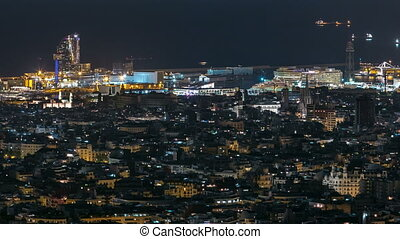 View of Barcelona timelapse, the Mediterranean sea and port of Barcelona  from Bunkers Carmel. Catalonia, Spain.