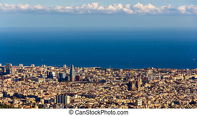 View of Barcelona with Sagrada Familia and Torre Agbar