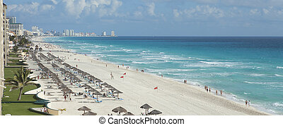View of beach and Caribbean Sea in Cancun, Mexico - A view...