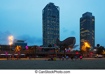 View of Beach in summer twilight. Barcelona