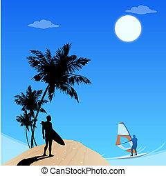 view of beach,men surfing,leisure sports