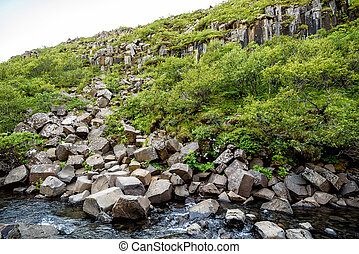 beautiful basalt stone columns in Skaftafell national park, Iceland