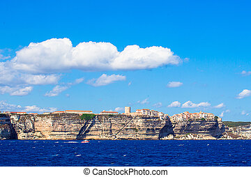 View of beautiful city of Bonifacio from the sea, Corsica