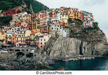 View of beautiful colorful village Manarola, Italy