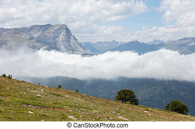 View of beautiful landscape in the Alps