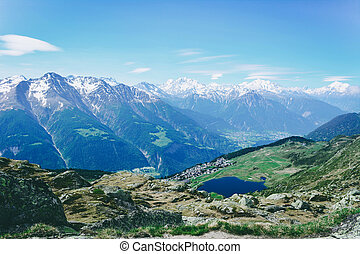 View of beautiful landscape in the Alps.