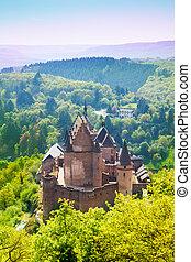 View of beautiful Vianden castle, Luxembourg