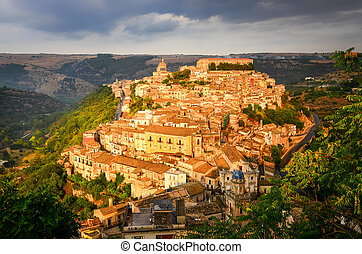 View of beautiful village Ragusa at sunset, Sicily - View of...