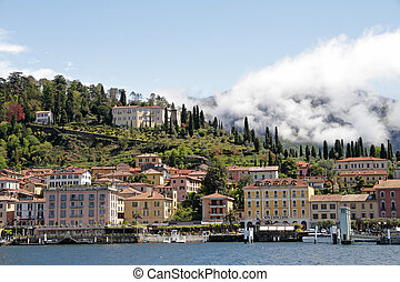 view of Bellagio village - vacation resort on lake Como and...