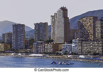 View of Benidorm city seaside in Spain