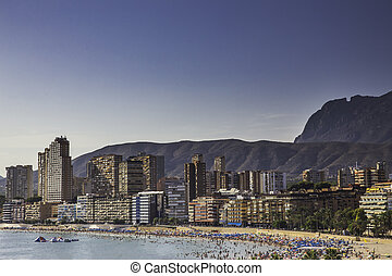 View of Benidorm city seaside in Spain