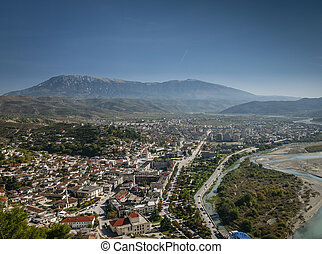 view of berat historic old town in albania