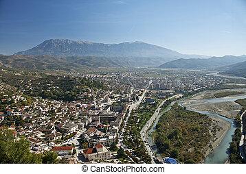 view of berat town center in albania