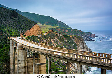 View of Bixby Creek Bridge, in Big Sur, California.
