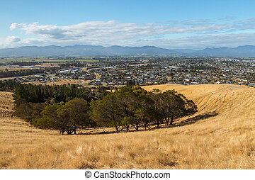 view of Blenheim town in South Island, New Zealand from Wither Hills