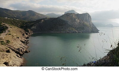 View of Blue bay and mount Karaul-Oba. Mountains in Crimea at Black sea.