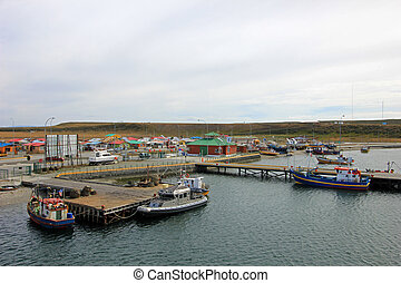 View of boats in the port of Porvenir, Tierra Del Fuego, Chile