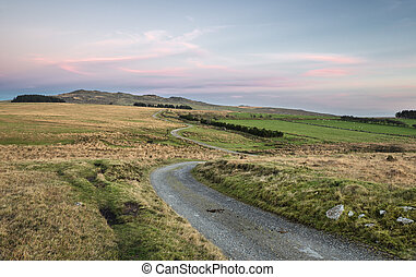 View of Bodmin Moor at dusk, looking out towards Brown Willy which is the highest point in Cornwall