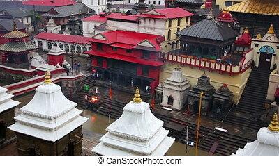 View of body cremation grounds, pashupatinath temple, kathmandu, nepal