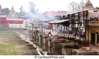 View of body cremation grounds, pashupatinath temple,...