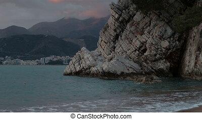 View of Boka Kotorska bay on summer evening. Cove is...