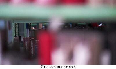 Bookshelves in university library - View of Bookshelves in...
